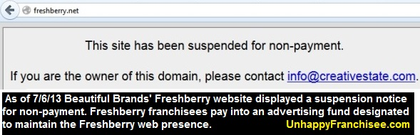 freshberry website suspended