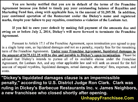 Dickey's Liquidated Damages