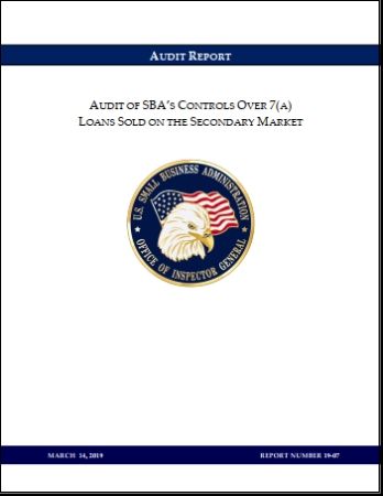 SBA 7(A) Loan Audit Secondary Market